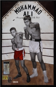 Ali and Young Cassius Clay, oil on canvas with stitched leather and wood