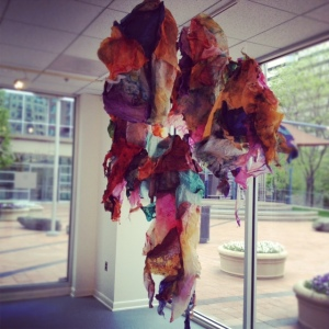 "Maya Freelon Asante, ""Seedling"", tissue paper installation, dimensions variable"