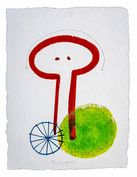 """Bicycle Groove, 17.5""""x12"""", graphite & acrylic on moulin de carrogue paper"""