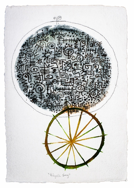 """Bicycle Song, 17.5""""x12"""", acrylic & ink on paper"""
