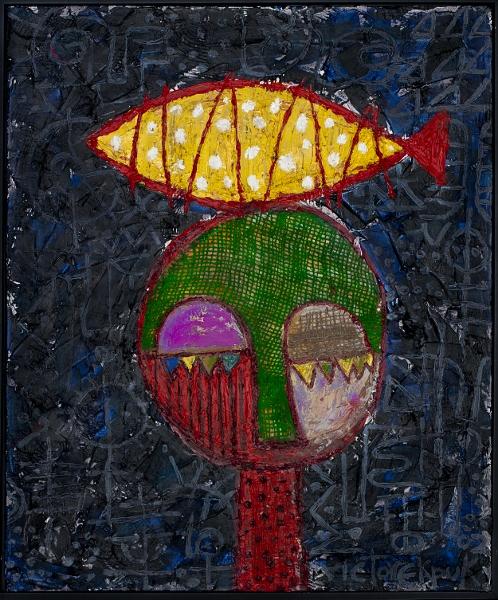 "Fish Seller, 24""x20"", acrylic & burlap on canvas"