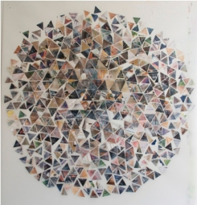 "GA Gardner, Six Degrees, 42""x44"", mixed media on mylar"