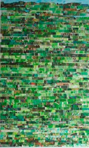 "GA Gardner, Home, 69""x42"", mixed media on mylar (SOLD)"