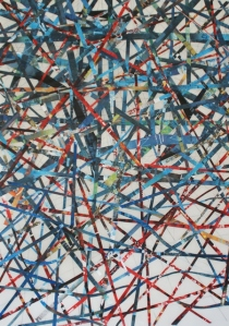 "GA Gardner, Red, White, Blue and Black, 72""x42"", mixed media on mylar"