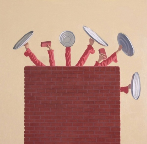 "Vonn Sumner, ""Defense,"" 2013, oil on panel, 18 x 18 inches"