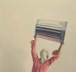 """Vonn Sumner, """"Action,"""" 2013, oil on panel, 18 x 17 inches"""