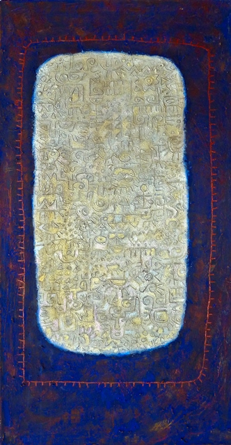 "Victor Ekpuk, Idaresit (Joyful Heart), 2004, acrylic on canvas, 48""x24"""