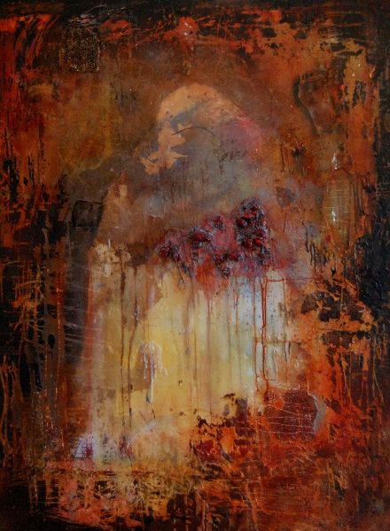 "Anima Sola, wax paper oil mixed media on cradled panel, 48""x36"""
