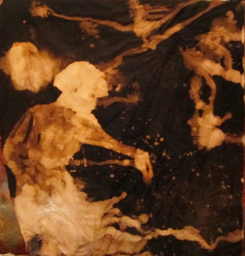 """Spirit Photo #1, bleached fabric and wax on panel,40""""x40"""""""