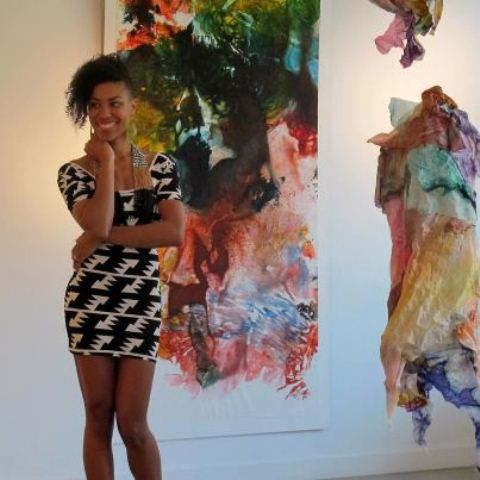 Maya Freelon Asante with her tissue ink monoprint and Ubuntu tissue quilt sculpture, photo credit: Greg Powers