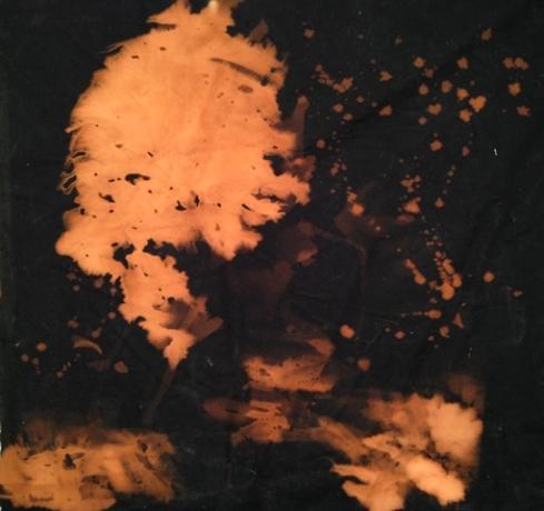 "Spirit Photo #3, bleached fabric on panel, 36x36"""