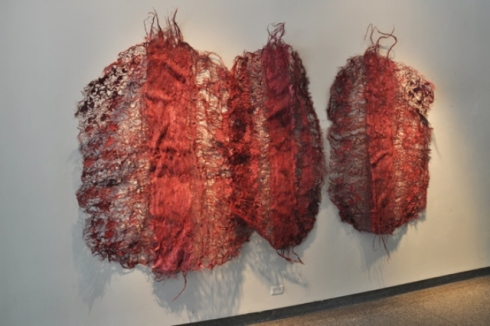 NNENNA OKORE,  Bodily Beings, 2011, dimensions variable, burlap, handmade paper and dye