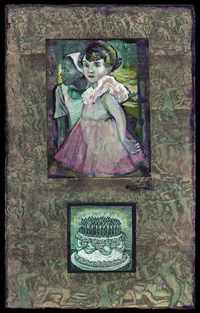 "ROSEMARY FEIT COVEY, Little Madam and the Girl, 2014, 27.5""x15"", mixed media on panel"