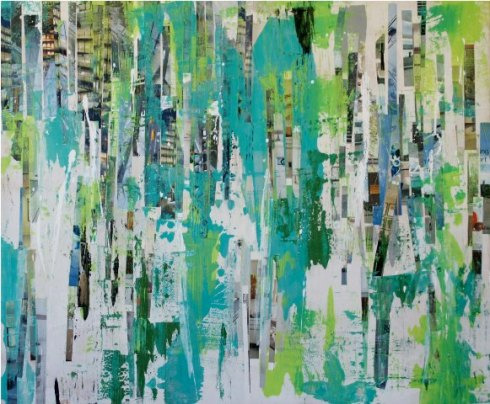 "GA Gardner, Green City, 2010, Mixed media on wood, 40""x48"", Courtesy of the artist, and Morton Fine Art, Washington, D.C."