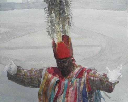 "Mario Robinson, St. Kitts Masquerade Dancer, watercolor on paper, 16""x20"""