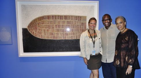 """Slave Narratives"", curator of contemporary art Karen Milbourne, artist Victor Ekpuk and museum Director Dr Johnnetta Cole at the National Museum of African Art, DC"