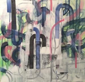 "CHOICHUN LEUNG, The Transparent Route, 48""x50"", acrylic on canvas"