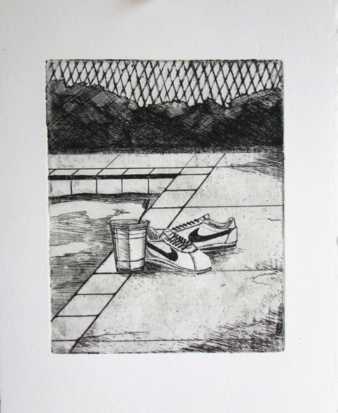 """Charles Williams, Cortez, 9""""x6"""", etching on paper"""