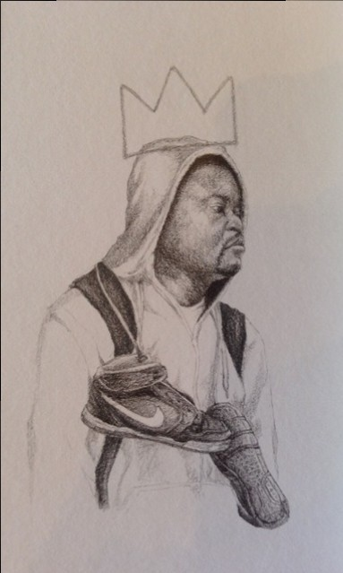 "Charles Williams, Young King, 9""x6"", graphite on paper"