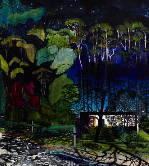 "WILLIAM MACKINNON, Almost Was Not Good Enough (Moonlight II), 58""x48"", acrylic, oil and automotive enamel on  linen"