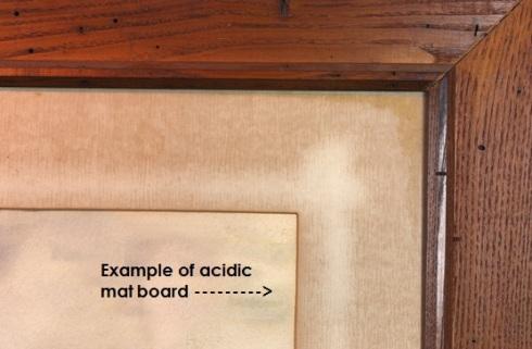 acid eaten matboard