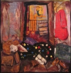 """Closet, 40""""x40"""", burlap and felted wool"""