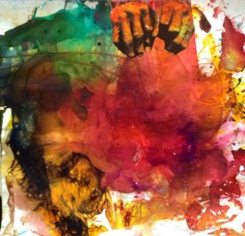 "Maya Freelon Asante, Handmade, 36""x37"", tissue ink monoprint"