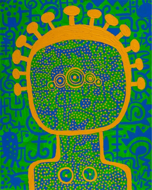 "Victor Ekpuk, Asian Uboikpa (Hip Sista) Series #11, 2015, acrylic on canvas, 60""x48"""