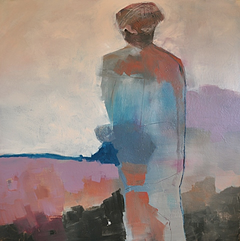 "Kesha Bruce, Soliis Journey Home, 48""x48"", mixed media on canvas"