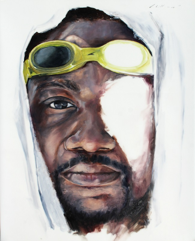"Charles Williams, Self Portrait with Goggles 3, 10""x8"", oil on mylar"