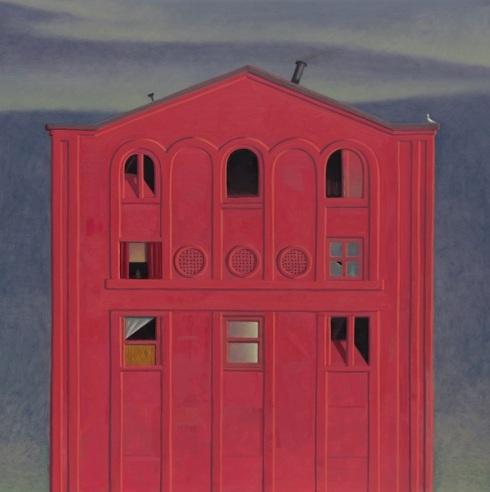 "Pink Theatre, 24""x24"", oil on panel"