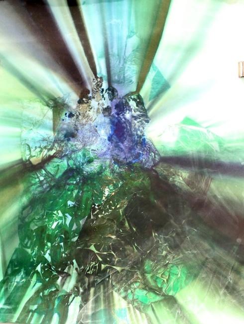 "Dark Matter, 58""x44"", spinning tisue paper ink mono print"