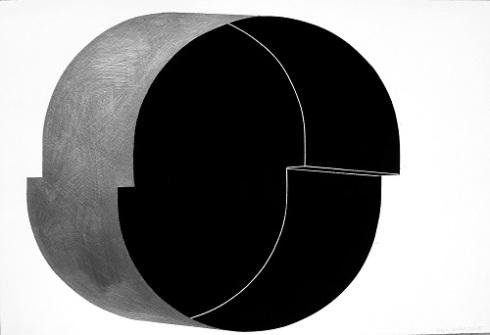"Osi Audu, Self Portait No. 42, 15""x22.5"", graphite on pastel on paper"