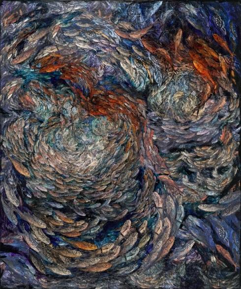 """Rosemary Feit Covey, Fish, 2017, 72""""x60"""", mixed media on canvas"""