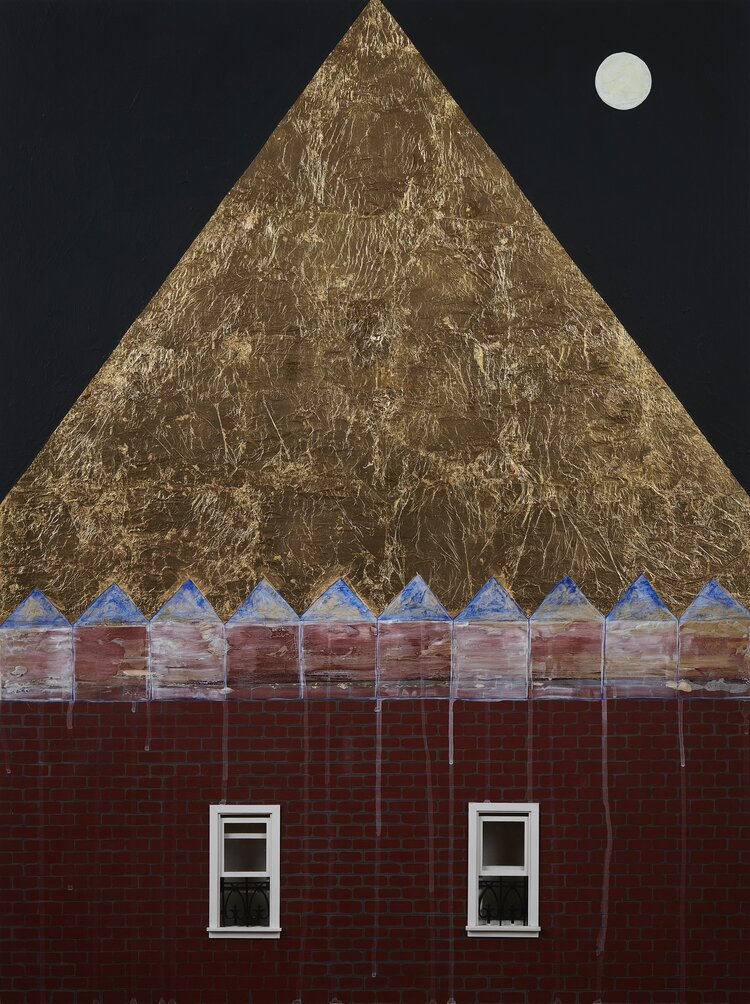 Adia Millett,  Gold Roof  (2019), 40 x 30 in., acrylic, gold leaf and plastic wood on panel