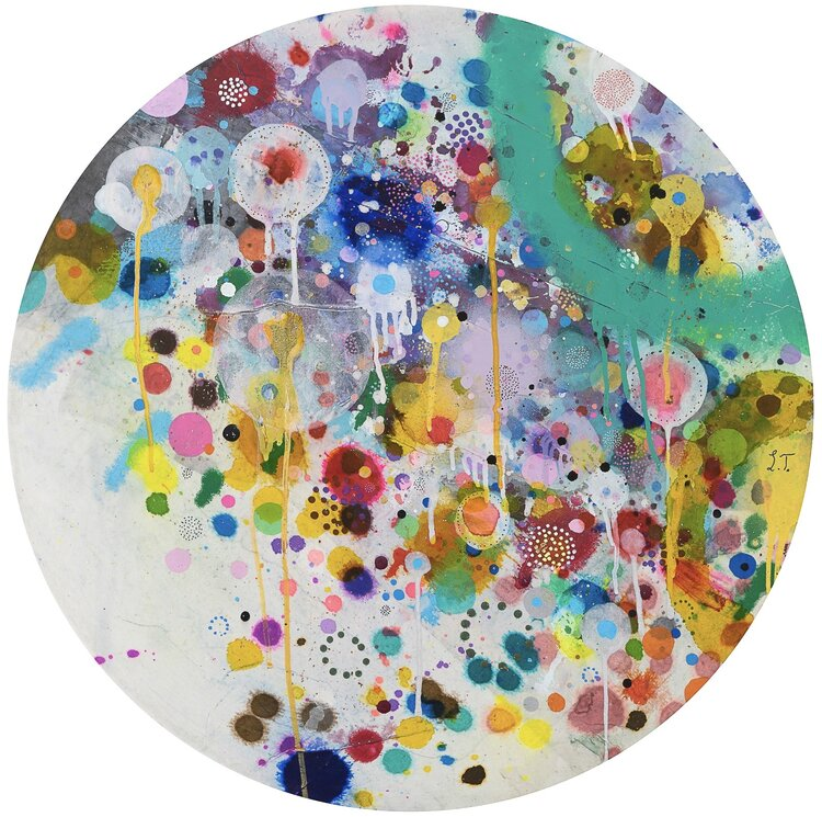 Liz Tran, Cosmic Circle 2 (2020), 24 x 24 in, Mixed media on panel, Courtesy of the artist and Morton Fine Art
