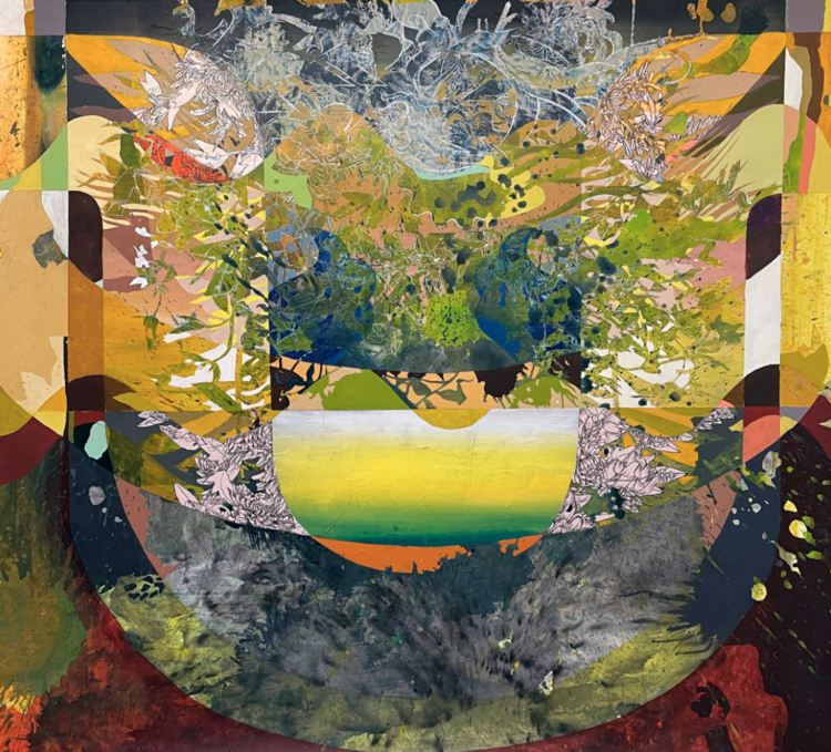 Crust, Mantle, Core, 2021, Acrylic and collage on paper, 60 x 60 in, Image courtesy of Morton Fine Art.